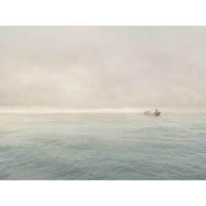 Single White Boat At Sea