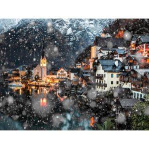Hallstatt In Austria During The Snowfall