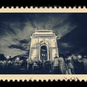 India Gate New Delhi Antique Stamp