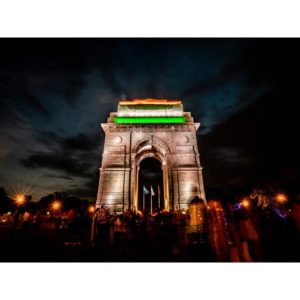 India Gate In New Delhi Lightning During The Night