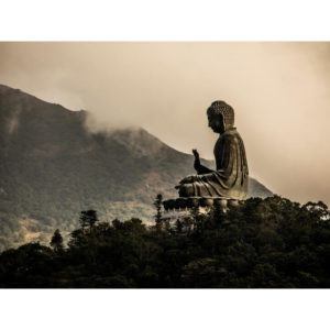 Tian Tan Buddha Statue Surrounded By Mist in Hong Kong